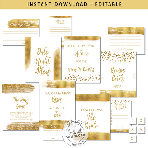 Gold Bridal shower Poster Games