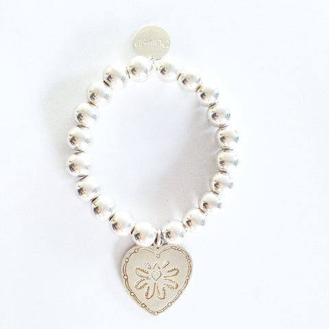 10mm sterling Silver Ball Bracelet with Love Heart