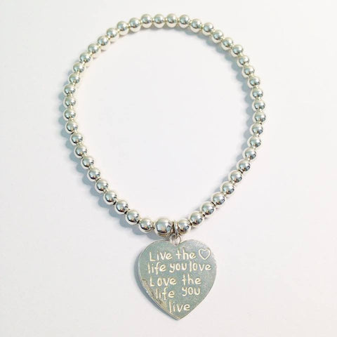 Live the Life you Love, Love the Life you Live Heart Charm Bracelet 4mm