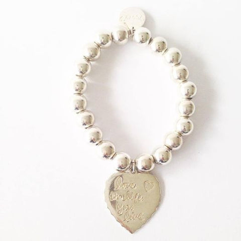 Large Ball Love the Life you Live Bracelet