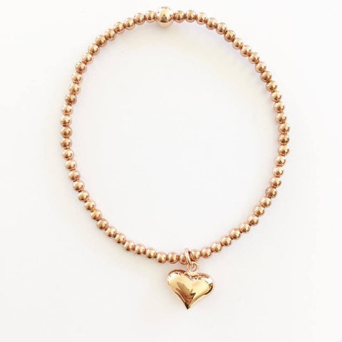 Rose Gold Puffed Heart Bracelet