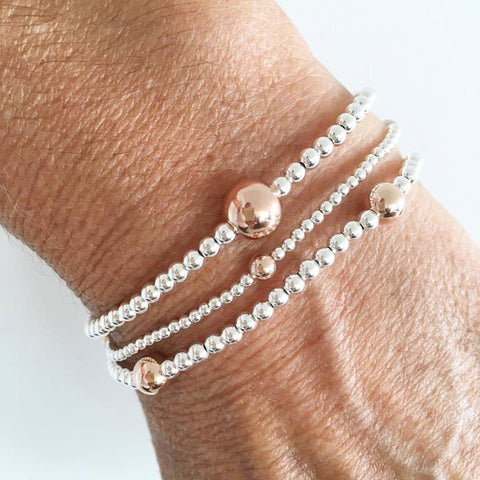 A Rose Gold & Silver Set of 3 Bracelets