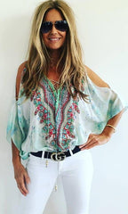 Butterfly Caftan Top with Slit light Blue