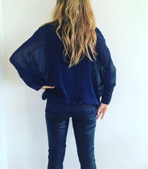 1 A A A A Silk Top... Navy..