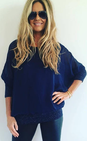 1 A A A A Silk Top... Navy..  Message me back in stock next week