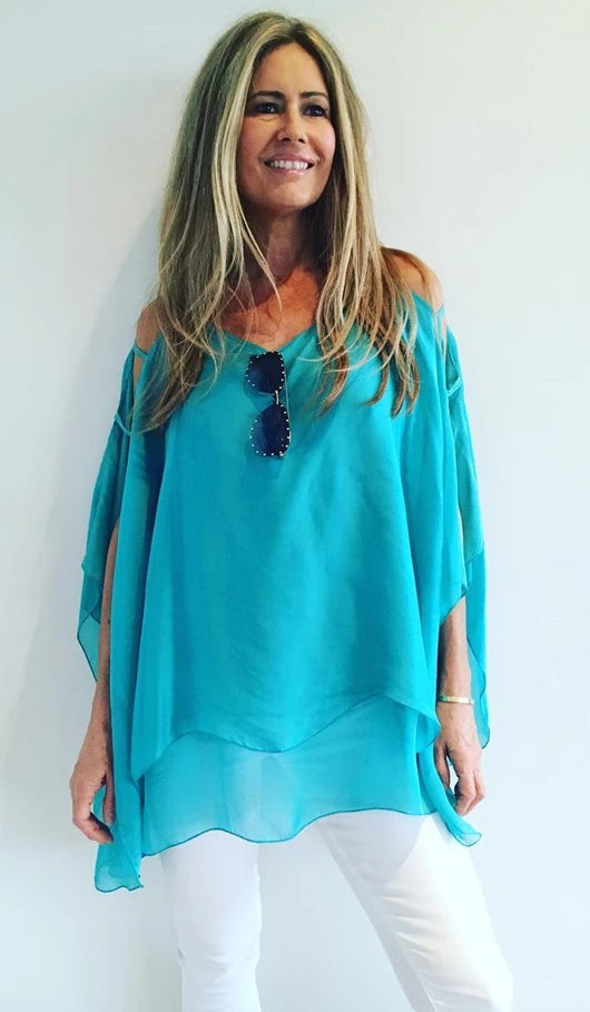 1  A A A A A Silk Top with Cut outs... Aqua