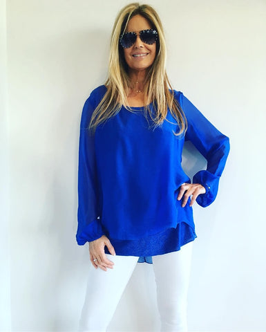 1   A A A A Navy Silk  Top Blue from Italy..