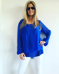 1  A A A A Blue Silk  Top from Italy..