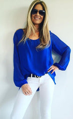 1 A A A A A A Blue Silk  Top from Italy..