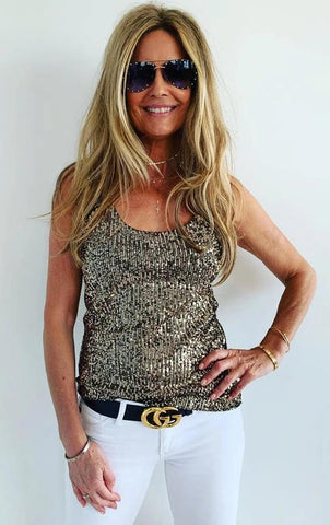 Sequin Tank Top Gold  sequins.. From Italy..