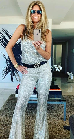 Sequin Pant Flares Champagne