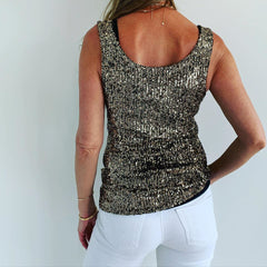 1  A A A A A A  Tank Top Gold  sequins.. From Italy..