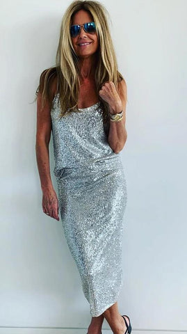 Sequin Skirt Champagne