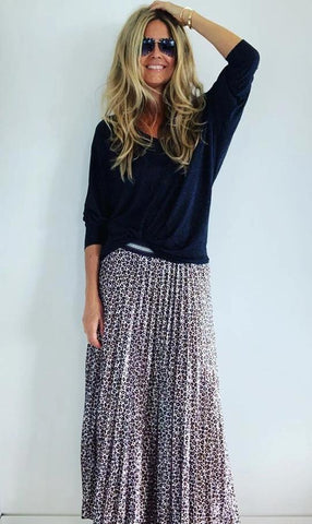 Skirt Pleated Velvet Animal Print Black & White