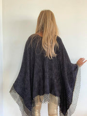 Poncho with Gold Trim