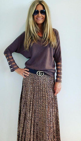 Skirt Pleated Velvet Animal Print Gold Beige