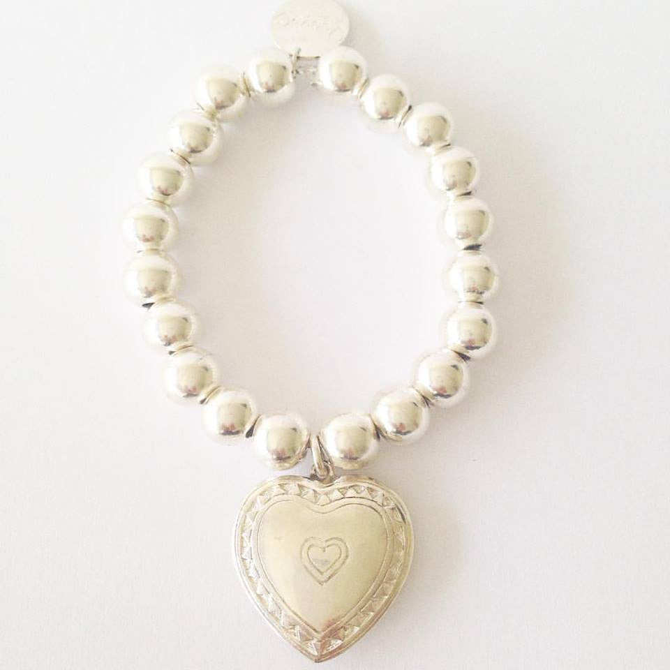 10mm Sterling Silver Ball Bracelet with Puffed Heart Charm