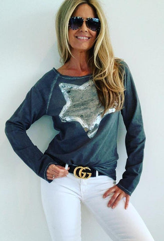 Top Sweatshirt Sequin Star Charcoal