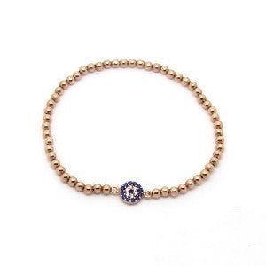 A Rose Gold Bracelet with Crystal Eye