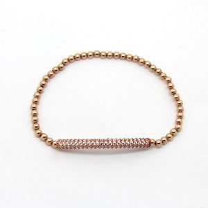 A Rose Gold Crystal Tube Bracelet
