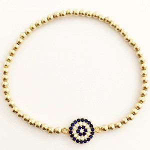 1. Crystal Evil Eye Protection Bracelet in Gold