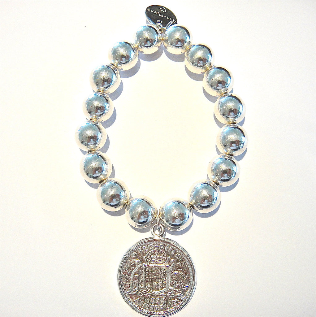 12mm Sterling Silver Ball Bracelet with Florin Coin Charm