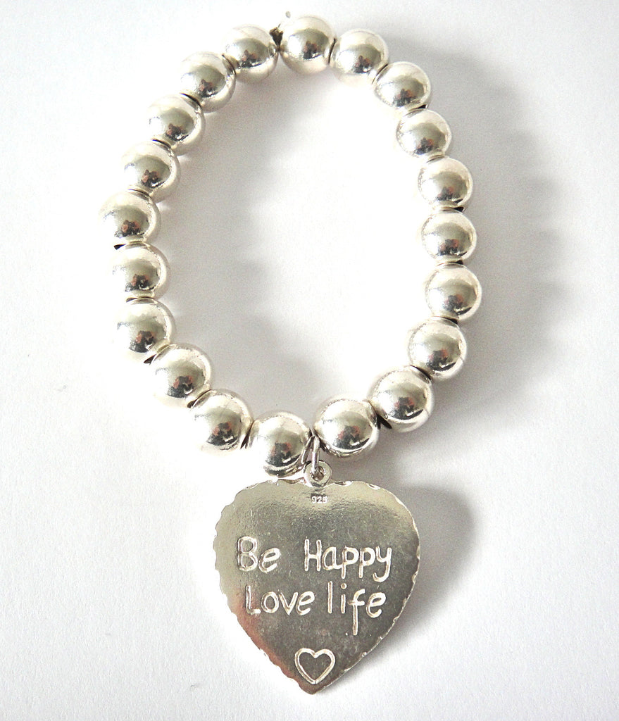 Large Ball Bracelet Be Happy, Love Life