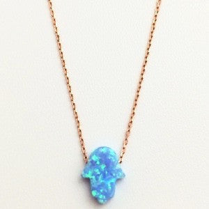 1 Protection Hamsa Hand Necklace in Rose Gold..