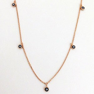 1 Evil Eye Choker Necklace Rose Gold