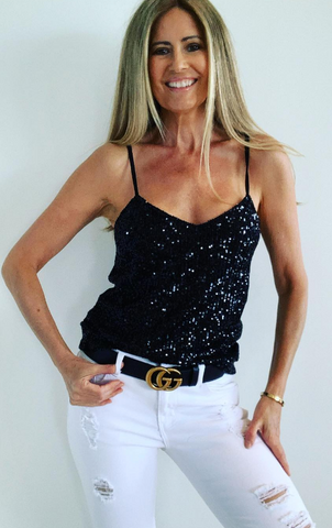 Sequin Top Cami Black  .. From Italy..
