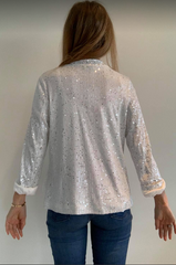 Sequin Jacket White/Silver