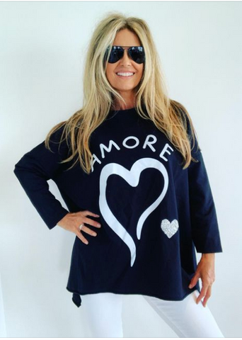 Amore Sweat Shirt Top Black