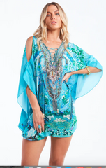 Butterfly Caftan Top with Slit Those Blue Eyes..  Blue