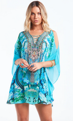 1 A A A A A  Butterfly Caftan Top with Slit Those Blue Eyes