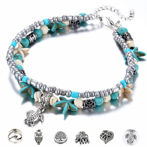 Starfish Turtle Charm Turquoise Beaded Anklet