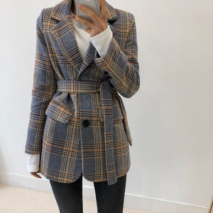 Plaid Women Blazer Coats