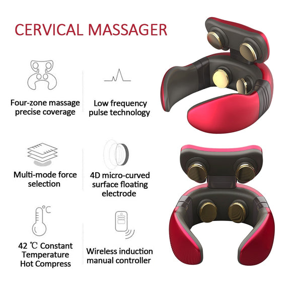 Smart Electric Neck and Shoulder Massager Pain Relief  Health Care Relaxation Cervical 4D Magnetic Therapy Massage Machine