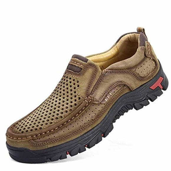 Genuine Leather Casual Shoes - Men Comfortable Walking Shoes