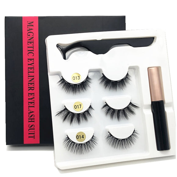 3 pairs of magnetic eyelashes, waterproof magnetic eyeliner and tweezers