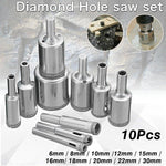 Glass Tile Marble Hole Drilling Bit Set (10 pcs.)