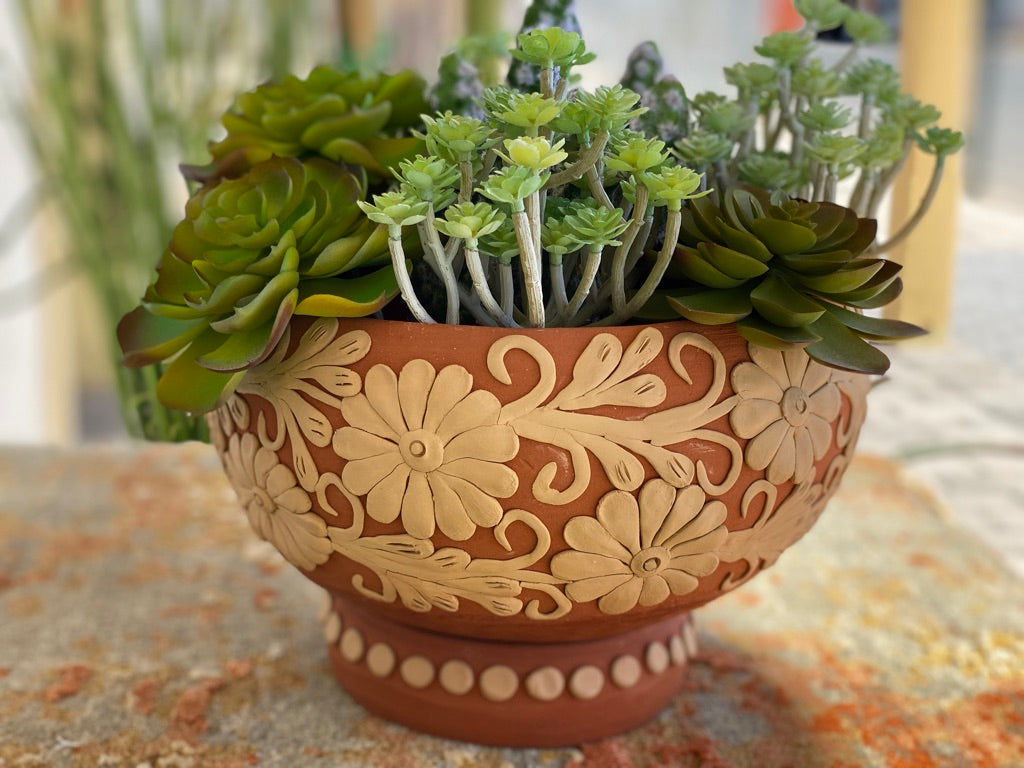 Clay Round Planter, Large V