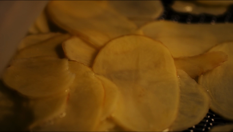 How our Salted Egg Potato Chips are made slicing