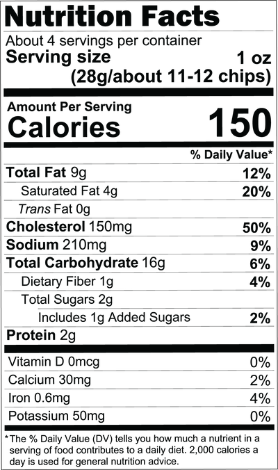 Salted Egg Cassava Chips Pack (Family Value Size) Nutritional Facts