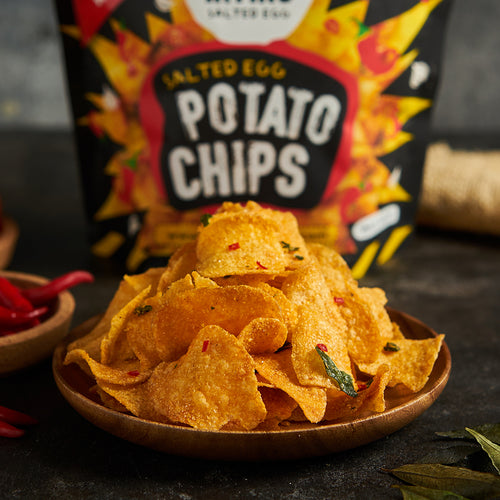 Hot Boom Salted Egg Potato Chips Small (105g)