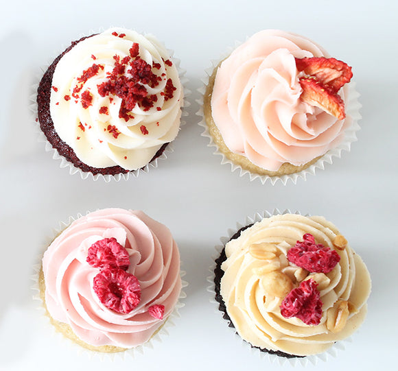 Food photography of beautiful mixed cupcakes