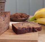 Food photography of vegan banana bread and chocolate slice