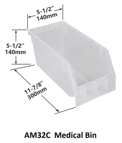 AM32C Pack of 18 Medical Bins|AM32C Caja de 18 Contenedores médicos