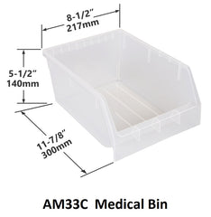 AM33C Pack of 12 Medical Bins|AM33C Caja de 12 Contenedores médicos