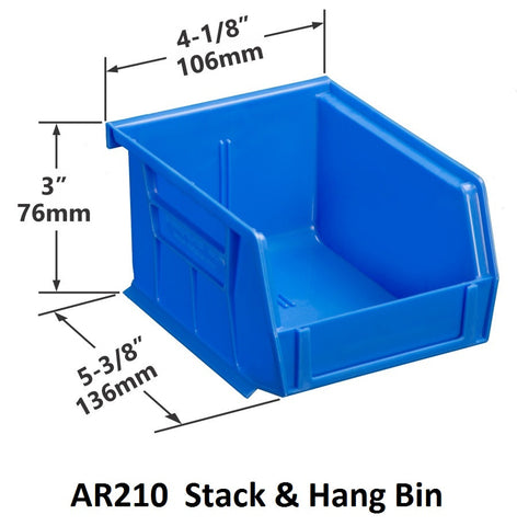 AR210 Pack of 24 Stack & Hang Parts Bins|AR210 Caja de 24 Recipientes para piezas, para apilar o colgar