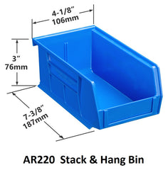 AR220 Pack of 24 Stack & Hang Parts Bins|AR220 Caja de 24 Recipientes para piezas, para apilar o colgar